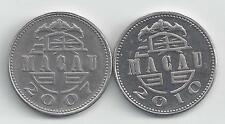 2 DIFFERENT 1 PATACA COINS from MACAU DATING 2007 & 2010