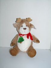 "Heads and Tales Gund Beige White Reindeer Christmas Tree Red Scarf Plush 12"" NWT"