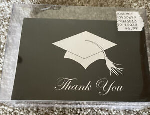 Graduation Thank You Cards 24 pack black classic