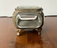 Antique French Etched Beveled Glass Casket Footed Trinket Box Bronze Filigree