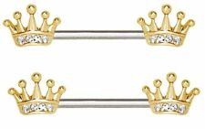 Plated Princess Crown Sold as pair Nipple Ring Bars 316L Stainless Steel Gold