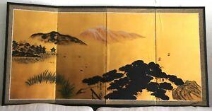 Antique Japanese Byobu Mt. Fuji Screen Gold Leaf Hand Painted 4 Panel Black