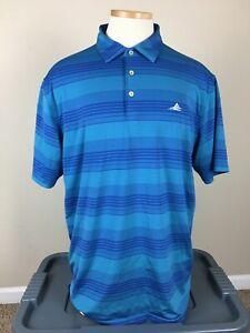 Peter Millar Summer Comfort Blue Striped Golf Polo Shirt Men's Size L