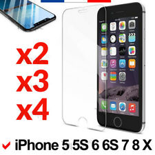 LOT VERRE TREMPÉ VITRE PROTECTION PROTÈGE ÉCRAN IPHONE 5/5S/SE/6/6S/7/8/X/PLUS/4