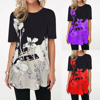 ❤Women's Foral Print Short Sleeve Casual Loose T Shirt Ladies Summer Blouse Tops