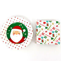 "7"" Christmas Decorative Paper Plates and Napkins Set Dinnerware Party Serves 18"