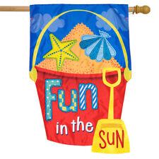 "Fun in the Sun Applique Summer House Flag Sand Bucket 28"" x 40"" Briarwood Lane"