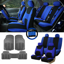 Blue Black Car Seat Covers for Auto w/Steering Cover/Belt Pads/Floor Mat