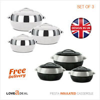 Fiesta Casserole Insulated Pot Cold Hot Food Serving Dish Quality Large Set of 3