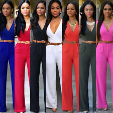 Women Fashion V Neck Sleeveless Bodycon Party Jumpsuit Romper Trousers With Belt