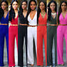 Women Clubwear V Neck Playsuit Bodycon Party Jumpsuit Romper Trousers with Belt