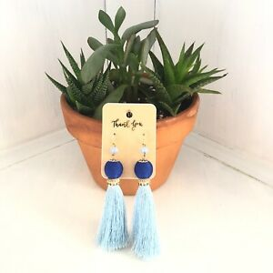 Blue Boho Tassel Earrings
