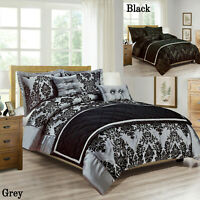 Black Grey Duvet Cover Double King Size Quilt Bedding Set With Pillow Cases