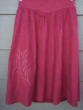 "Tregos Westwear Womens Skirt Sz L 32"" Waist Red Faux Suede Floral Vintage"