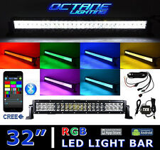 "32"" 5D CREE LED RGB Light Bar Multi-Color Changing Offroad Flash Bluetooth Jeep"