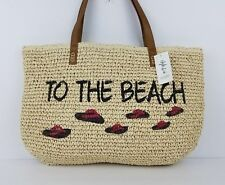 Style co straw tote pool beach bag to the beach love summer american flag daisy
