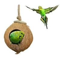 Coconut Shell Bird Nestouseut Cage Feeder Pet Parrot Parakeet Nice Toys A3X9