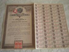 Vintage share certificate Stock Bonds Mexico compania minera de los azules 1936