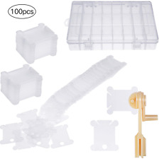 100 Pieces Plastic Floss Bobbins with Floss Winder and Embroidery Organizer Box