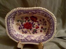 Antique COPELAND SPODE Mayflower Lavendar Floral Serving Bowl Ribbed Bottom