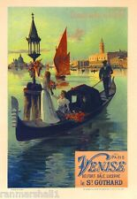 Paris to Venice Italy Vintage France Travel Poster Picture Print Advertisement