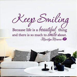 Marilyn Monroe Keep Smiling Beautiful Quote Wall Art Sticker Decal Vinyl Design