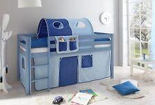 Lit mezzanine MALTE Pin teinté bleu tissus Bleu clair-Bleu foncé