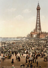 "P22 Vintage 1890's Photochrom Photo Blackpool Beach & Tower - Print A3 17""x12"""