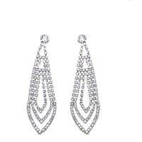 Bridal Diamante Shiny Long Drop Dangle Earrings Jewellery for Weddings E565