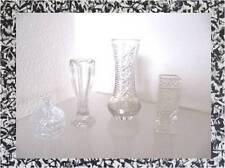 altes KRISTALLGLAS 3 Vasen und eine Deckeldose