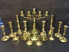 Huge Lot Vintage Brass Candlestick Holders Holds 20 Candles Candelabra Wedding