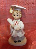 "Vintage Lefton China Ceramic  Girl 4062 Figurine  Graduation Day 5"" White Coat"