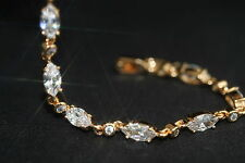 18K Rose Gold GF Marquise Created Diamond Bracelet 17-19.5cm/6.69 - 7.67 inches