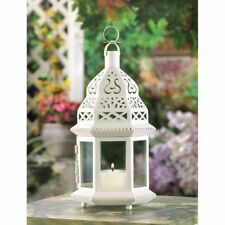 10 Creamy White Moroccan Style Lanterns Clear Glass Panels Wedding Centerpieces