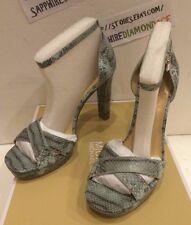 Michael Kors Divia Ankle Strap Embossed Leather Celadon Size 9m 4056dvha1e
