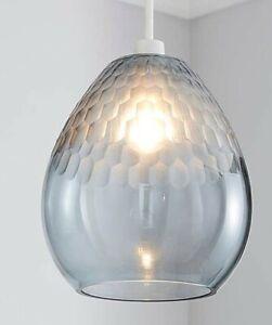 Jasmine Smoke Finish Faceted Glass Pendant Shade Home Decor Ex Display