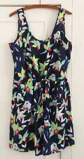 Ladies GAP Short Casual Sleeveless Navy & Bright Floral Dress Size Large - BNWT