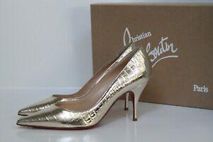 sz 7.5 / 38 Christian Louboutin Clare Cocco Gold Metallic Pointed Toe Pump Shoe
