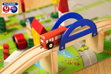 Wooden Train Track Set 40 Piece Compatible Rail Overpass kids gift toddle presen