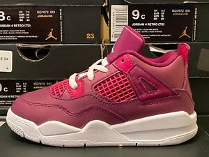 Nike Air Jordan 4 Retro 4 True Berry/Rush Pink-White BQ7672 661 Baby/Toddler NEW