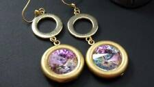 Round Austrian Crystal Earrings Mcm Style Purple Pink Green