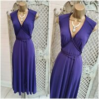 MARKS & SPENCER UK 14 Purple Slinky Grecian Rope Fit & Flare Midi Dress