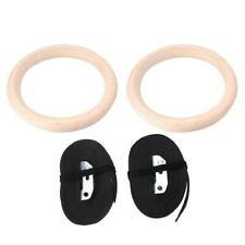 Wooden Professional Gymnastic Rings Gym Fitness Strength Training with Straps❤HH