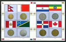 Below face B95 MNH 2012 USA UN s/s Flags Money Coins Canada Nepal