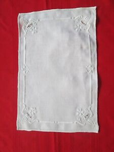 "Vtg All White Embroidered linen DOILY 15"" x 9.5""  Free shipping"