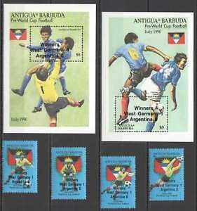K1515 ANTIGUA & BARBUDA FOOTBALL ITALY 1990 !!! OVERPRINT #1252-55 2BL+1SET MNH