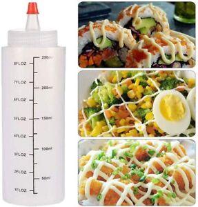 5 Pcs 250ml Kunststoff 8 Oz Squeeze Flasche Gewürzspender Senfsauce Ketchup