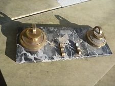 ART DECO MACHINIST STYLE  INKWELL SET ON MARBLE    TO RESTORE