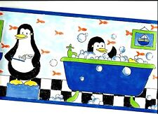 PENGUINS GETTING CLEAN IN THE BATHROOM WALLPAPER BORDER  UY30032