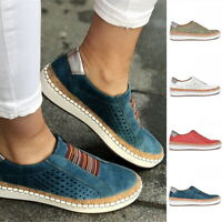 Women's Fashion Casual Slip On Flat Shoes Hollow-Out Toe Round Sneakers Size SH